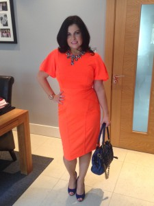 Me in my luminous orange birthday dress - €60 River Island