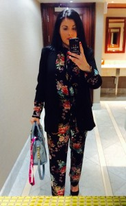Me in my M&S floral two piece - blouse and trousers